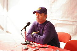 "Tedford answers questions in the press ""tent"""